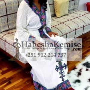 Purple Abeba Ethiopian Traditional Dress-3