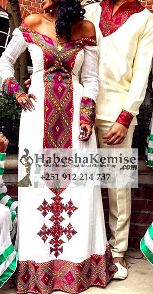 Purple Love Ethiopian Traditional Dress Wedding-49
