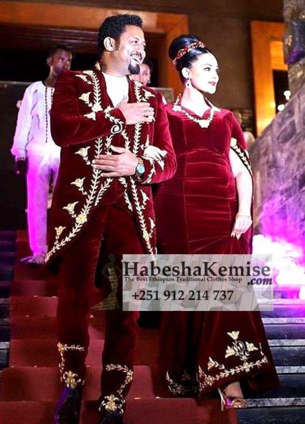 Red Gold Maraki Ethiopian Traditional Dress Wedding-36