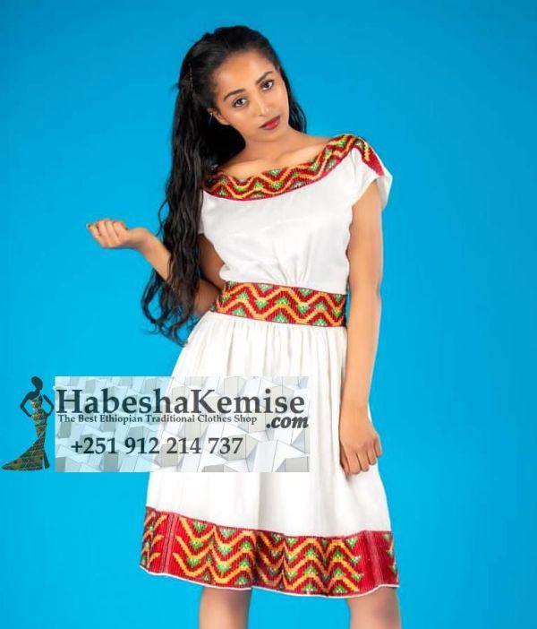 Red Tizita Ethiopian Traditional Dress-38