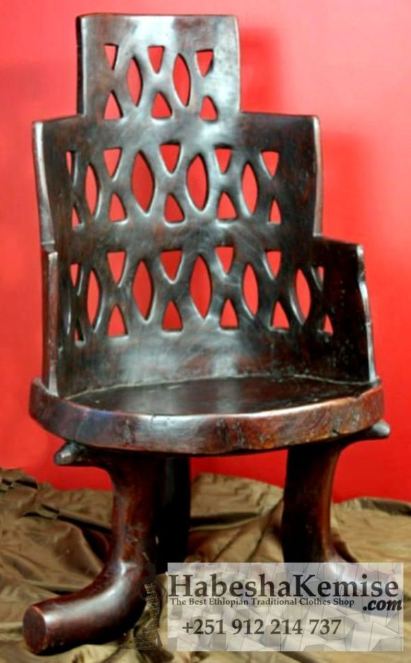 Traditional Wooden Chair Ethiopian House Decor-8
