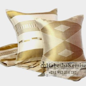 White Gold Handmade Pillow Set Ethiopian House Decor-23