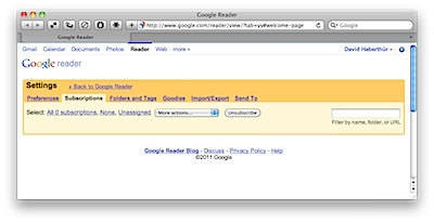 Google Reader: No subscriptions anymore