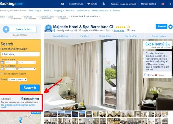 Hotelwifitest extensión en booking.com