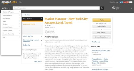 Amazon Travel Market Manager job posting