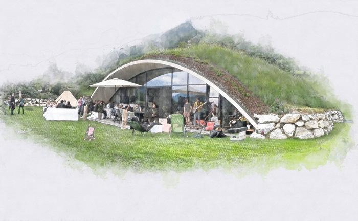 mais il voulait aussi developper une maison differente se rapprochant de la nature c est ainsi que cette maison enterree en forme d arche est nee