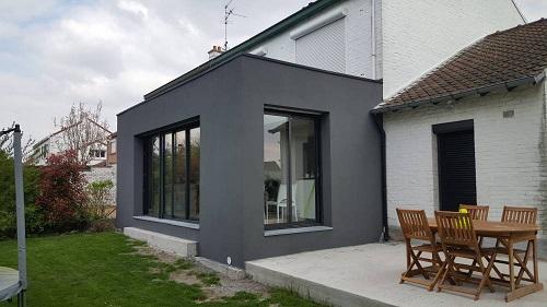 extension de maison avec toit plat
