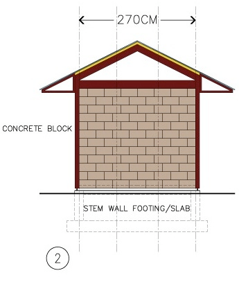 "CONCRETE BLOCK infill is indicated between the steel posts. This option would work where flooding is not a major issue; therefore a concrete STEM WALL foundation could be used. HabiTek's steel posts and beams surround the masonry construction on three sides, and thereby assist in ""confining"" the reinforced concrete blocks. This approach is a version of so-called ""CONFINED MASONRY CONSTRUCTION"", used in many parts of the developing world with high seismic exposure."