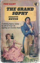 Another rather bodice-rippery cover from Pan. From what I could find online, this illustration was reused for many Pan editions, and at one point was redone somewhat with a new gown for Sophy and a slightly less snobby Charles Rivenhall.