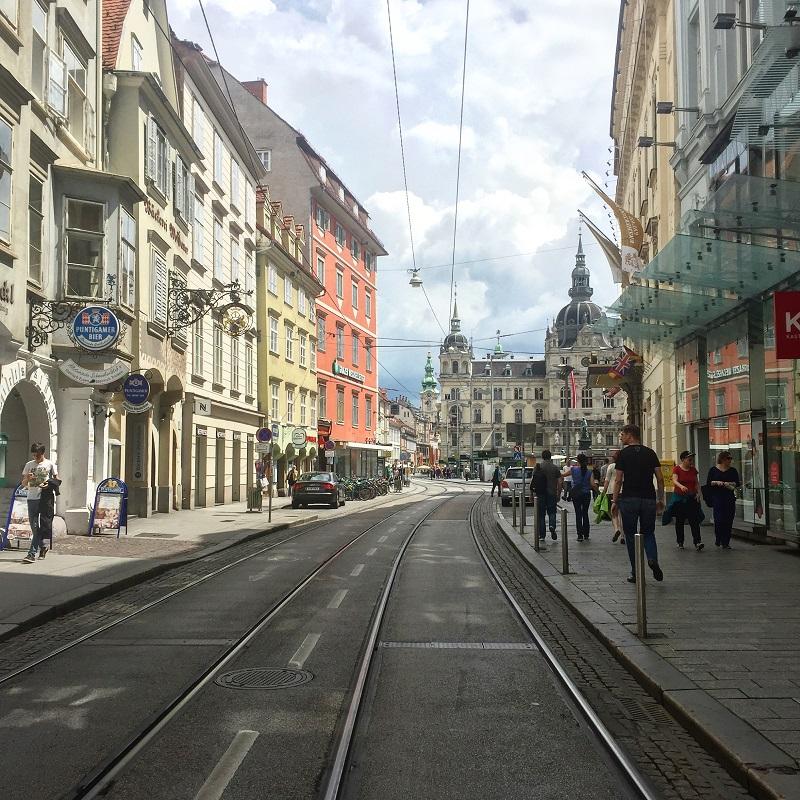 A view of Graz's Hauptplatz and Rathaus.
