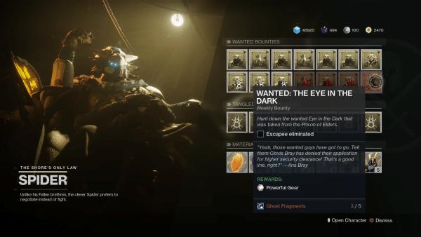 destiny 2 se subas ojo en la oscuridad