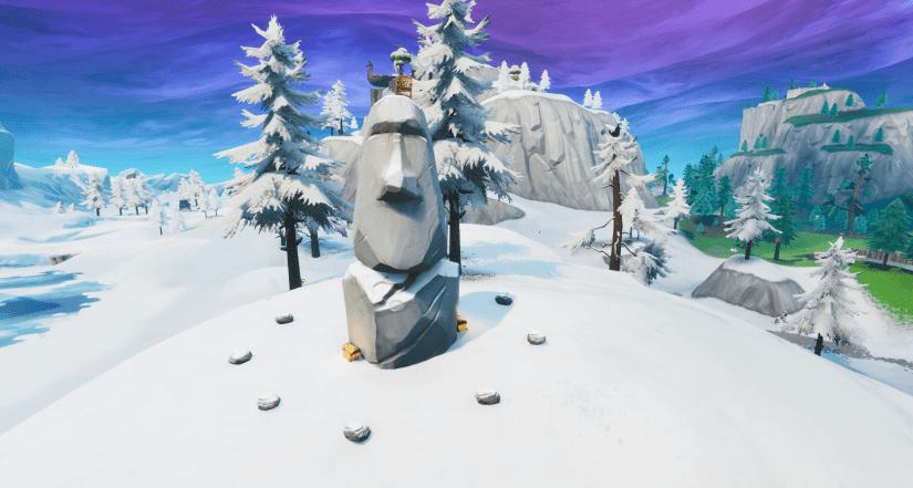 Cabeza de piedra nevada en el Taquillazo de Fortnite