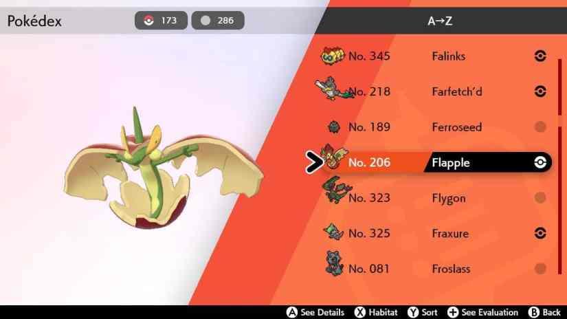 Evoluciones de Applin en Pokemon Espada y Escudo 2