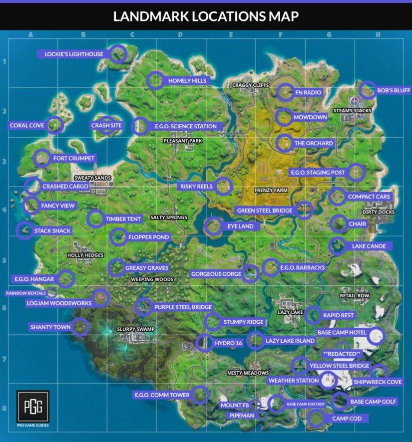 Landmarks Map in Fortnite 2