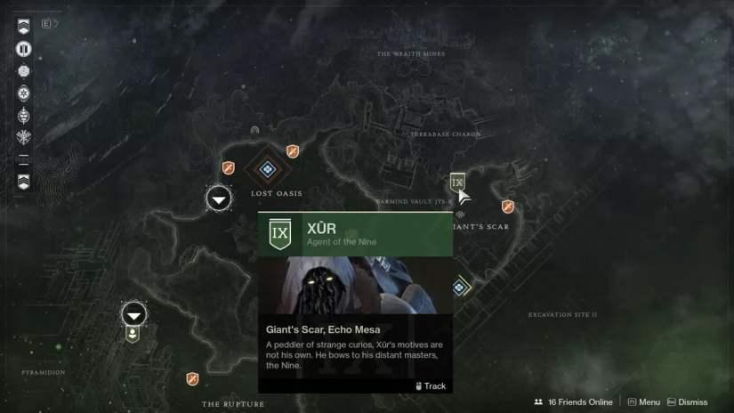 Ubicación de Xur en Destiny 2