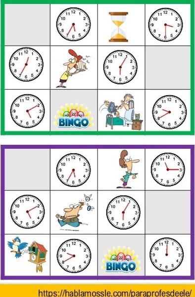 Cómo decir las horas en español con el bingo de las horas