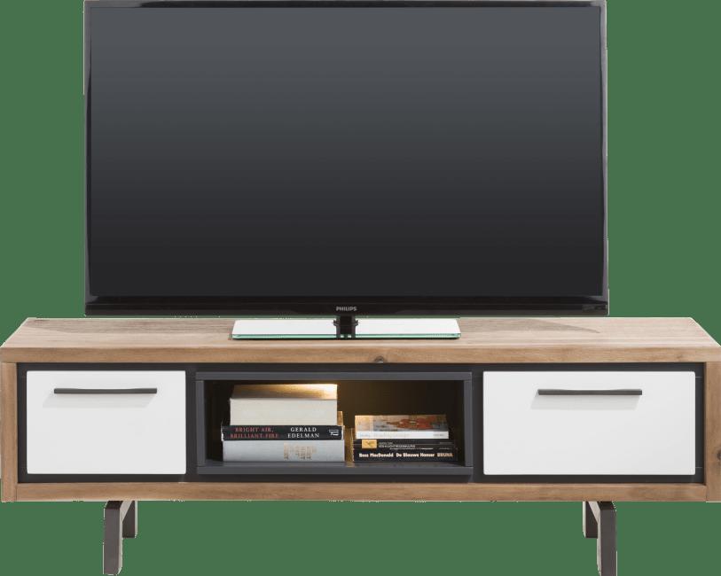 otta meuble tv 140 cm 1 tiroir 1 porte rabattante 1 niche led