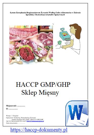 HACCP GMP/GHP Sklep Mięsny