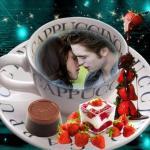 Fotomontaje de dulce taza de cappuccino