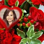 Fotomontaje de hermoso corazón y rosas rojas