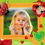 Fotomontaje infantil con mariquitas