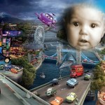 Fotomontaje de la ciudad de Cars 2