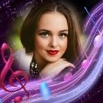 Fotomontaje con notas musicales
