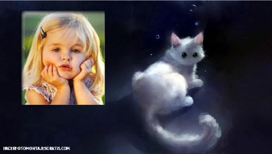 Fotomontaje de gatito fantasía