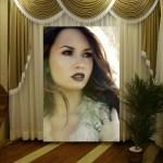 Fotomontaje de retrato en el living
