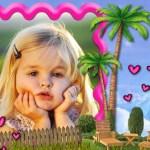 Fotomontaje con palmeras y corazones