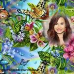 Fotomontaje con flores y mariposas