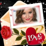 """Fotomontaje de carta con rosas, y la palabra """"Love"""""""