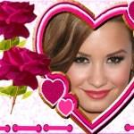 Fotomontaje de corazón y rosas
