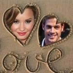 Fotomontaje de dos corazones en la arena