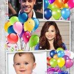 Fotomontaje de cumpleaños para tres fotos