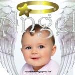 Tierno fotomontaje de ángel
