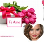 Fotomontaje de amor con regalo y flores