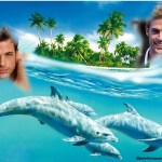 Fotomontaje de delfines para dos fotos