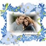 Bello Fotomontaje de marco azul y flores celestes