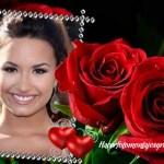 Fotomontaje de rosas rojas y dos corazones