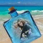 Fotomontaje de botella en el mar