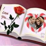 Fotomontaje de libro con rosa roja y corazón para incluir tu foto