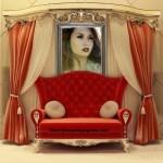 Fotomontaje de living con cuadro de pared