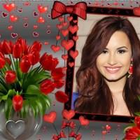 Fotomontaje gratis con ramo de flores y corazones
