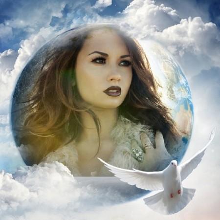 Fotomontaje de cielo, nubes y palomas