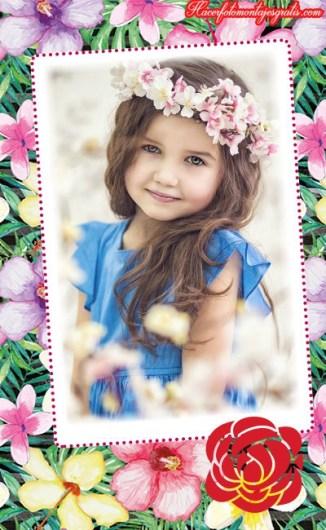 Fotomontajes con flores - efectos para fotos con flores - marcos con flores para editar fotos -