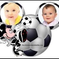 Fotomontaje de Mickey futbolista para dos fotos
