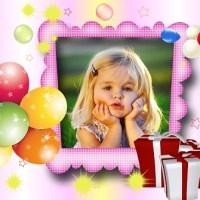 Fotomontaje de cumpleaños con globos y regalos