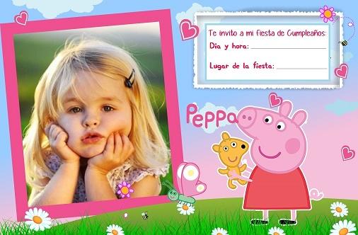 Invitacion de cumpleanos con foto de Peppa Pig