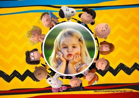 Fotomontajes de Snoopy y amigos - Marcos infantiles de Snoopy para editar fotos